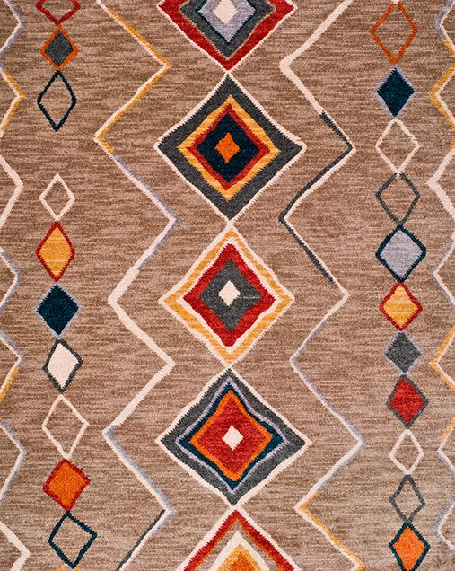 Alfombra Étnica con motivos geométricos Abiyan 80099 02 Beig