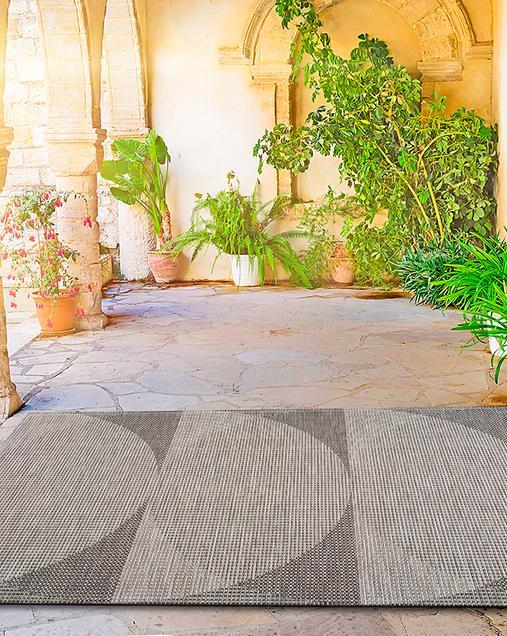 Alfombra Geométrica Indoor-Outdoor Biorn 39 14 Gris