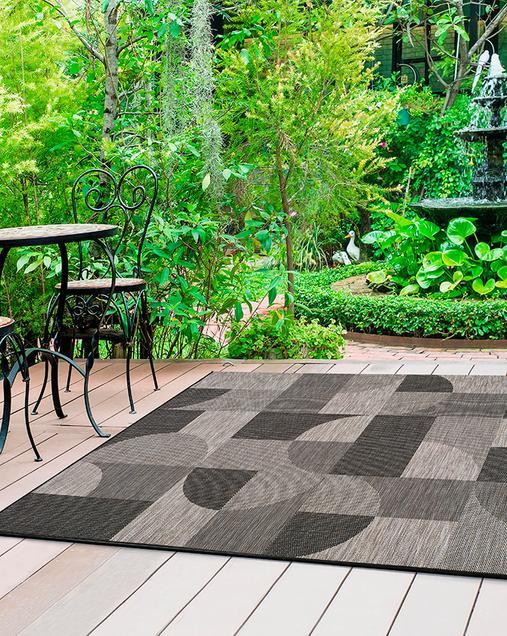 Alfombra Geométrica Indoor-Outdoor Biorn 451 14 Gris