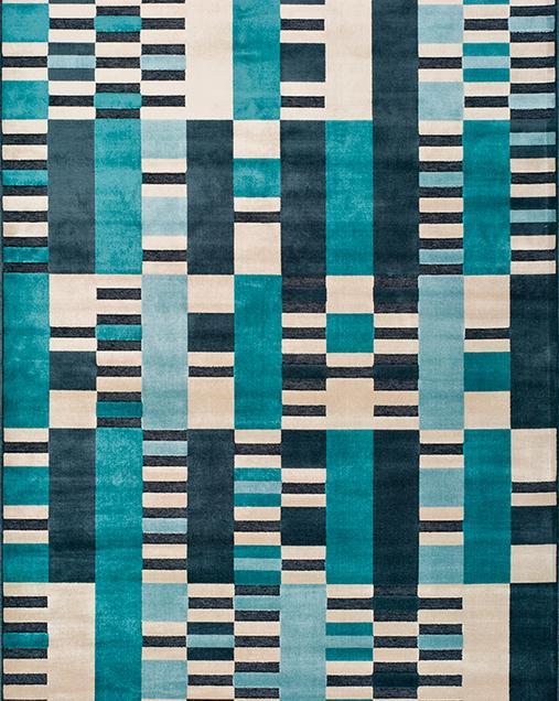 Alfombra Geométrica Farashe 938 07 Azul